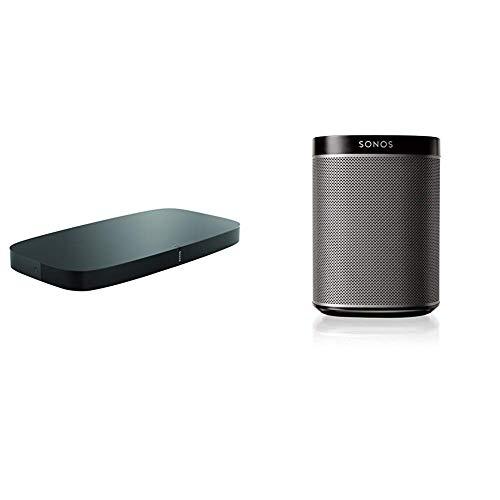 Sonos playbase soundbase wireless per l'home theater e lo streaming musicale, nero + sonos play:1 lettore all-in-one, wireless, controllabile da smartphone, tablet e pc, nero
