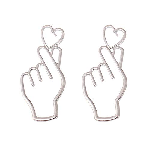 Redvive Top 1 Paar Finger Herz Legierung Ohrringe Ausgehöhlte Liebe Ohrstecker Ornamente Schmuck silber