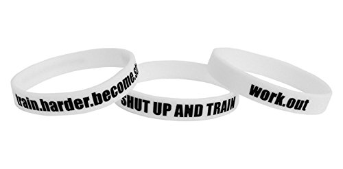 Fitness und Bodybuilding 3x Armbänder Shut Up and Train Training Workout Sport Fitness Gym Lifestyle CrossFit Zubehör Accessoire Silikon Gummi Band Sportarmband Unisex Neu