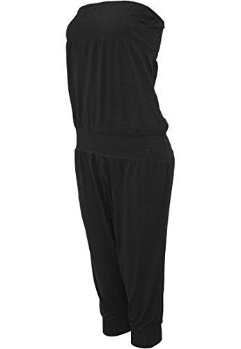 Urban Classics Damen Overall Jumpsuit Ladies Shoulderfree Capri Schwarz