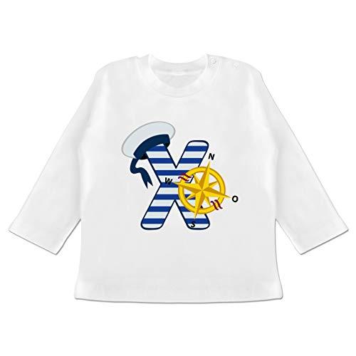 Anfangsbuchstaben Baby - X Schifffahrt - 3-6 Monate - Weiß - BZ11 - Baby T-Shirt Langarm