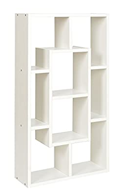 ts-ideen Bookshelf rack shelf in white with 8 compartments - cheap UK light store.