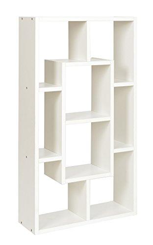 ts-ideen Étagère Armoire Meuble de Rangement 8 Compartiments Bois Blanc Table Armoire 48 x 85 cm CD DVD Livres Médias
