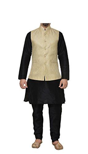 Mag Men's Black Matching Silk Kurta Churidhar With New Gold Waistcoat (RG-10068-44)