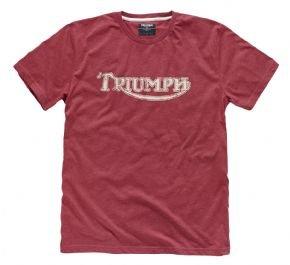 T-Shirt mit echtem Motorrad-Vintage-Logo Triumph, rot