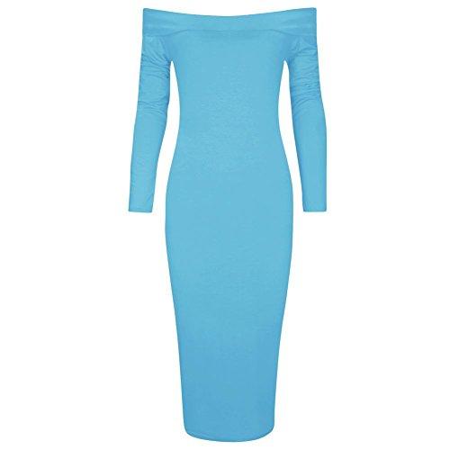 Damen Jersey Langarm Bardot Aus Schulter Midi Bodycon Kleid EUR Größe 36-54 Turquoise