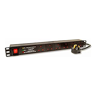 Dynamode 6-Way Horizontal 13A Switched 19-Inch Power Distribution Unit with Surge Protection