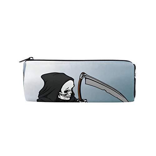 IMOBABY The Reaper Grim Sickle Skull Federmäppchen Stifteetui, multifunktionale Schreibwarentasche, Reißverschluss, Studenten-Reißverschluss, Bleistifthalter, Geschenk, Reisetasche, Make-up-Tasche (Grim Reaper Make-up)