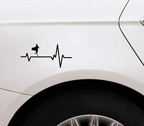 Liafa 16 X 7.4Cm Surf Board Boogie Running Heart Beat Vinyl Black Car Sticker Adesivo Cool/Adesivo Di Moda
