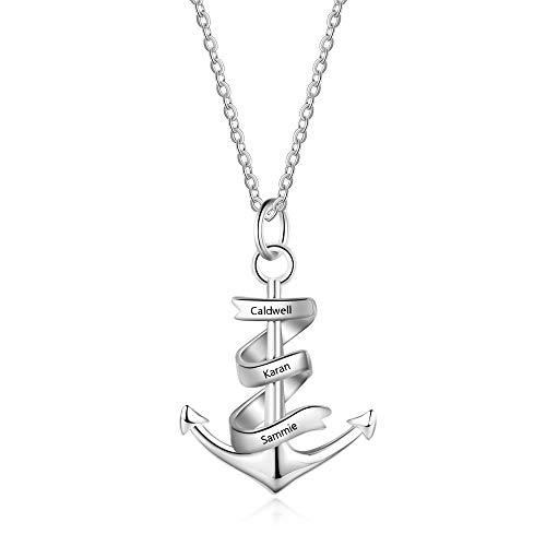 Halskette Anker Edelstahl Anker Anhänger Herren Damen Gravur Individualisierung mit 3 Namen 550 mm Ketten (mit name)