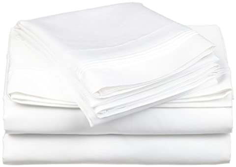 Superior 600 Thread Count Deep Pocket and Wrinkle Resistant 4-Piece Bed Sheet Set, Cotton Blend, Euro King/Ikea King,