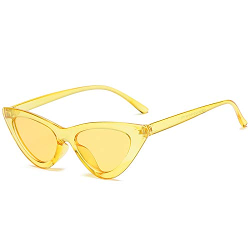 Aienid Sonnenbrille Clear Resin Dreieck Cat Eye Sonnenbrillen Gelb Sonnenbrille Für Frauen