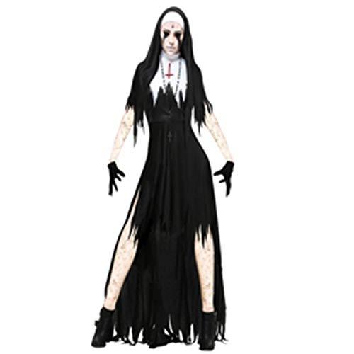 Yunfeng Hexenkostüm Damen Halloween Horror blutige Nonne Priester Kostüm unregelmäßige Kleid Leistung Kostüm