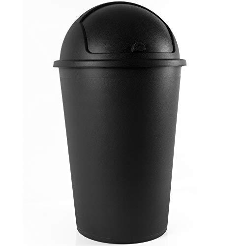 Deuba Abfalleimer 50L mit Schiebedeckel 68cm x 40cm schwarz - Mülleimer Müllbehälter Abfallbehälter I Büro Küche Bad