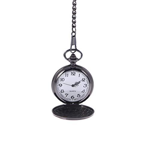 UEETEK Reloj de bolsillo moderno de caso arábigos blancos de Pixnor los hombres negro liso de acero...