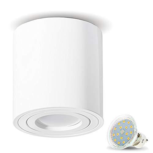 JVS Aufbauleuchte Aufbaustrahler Deckenleuchte Aufputz LED 4W Warm-weiß Milano GU10 Fassung 230V Rund Weiss schwenkbar Deckenleuchte Strahler Deckenlampe Aufbau-lampe Downlight aus Aluminium