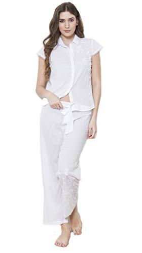 Echte Baumwolle 100% Cotton Batist Bestickt Blumenmuster Flügelärmel Weiß Pyjama Set - Weiß, XL UK 16/18 - Bestickte Baumwolle Batist
