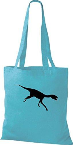 Crocodile leur coton à motifs dinosaures sac bandoulière, sac de plusieurs couleurs Bleu - sky