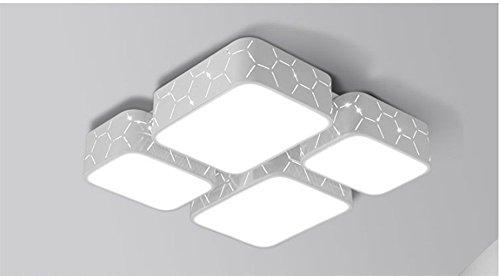 Deckenleuchte Die moderne minimalistische Schlafzimmer Wohnzimmer Esszimmer Kreativität Beleuchtung die Ledthe Atmosphärischer Rechteck Halle und drei hellen Farbton + Fernbedienung (52 * 52 Cm) 36W MeloveCc (Rechteck-lampen-farbtöne)