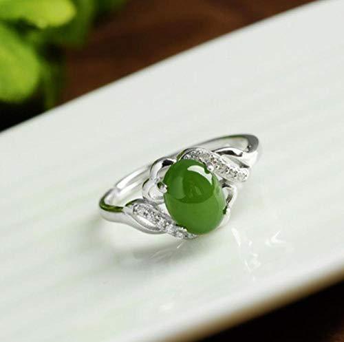SanQ-Seven Anillo Jade Natural Verde Femenino Modelo