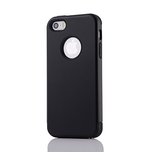 MOONCASE iPhone SE Coque, Combo Hybride Dual Layer TPU +PC Etui Antichoc Robuste Housse Protection Armure Case pour iPhone 5 / 5s / iPhone SE Argent Noir
