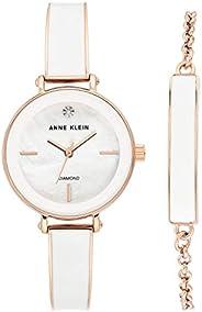 Anne Klein Women's Genuine Diamond Dial Bangle Watch with Bracelet Set, AK/