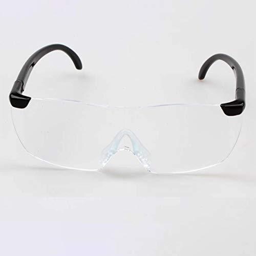 Big Vision 1.6X Lupe Lesebrille Flammenlos Leichte Brillen Lupe 250 Grad Vision-Objektiv für ältere Menschen (transparente Linse & schwarzes Bein)