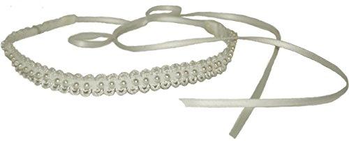 mondin Schmales Spitzen Halsband Pearls, Schwarz Oder Creme mit Kleinen Perlen, (Creme)