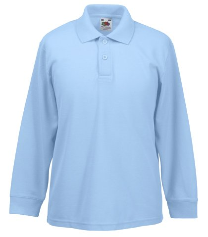Fruit Of The Loom 63201 Kids Long Sleeve Childrens 65/35 Pique Polo Shirt - Sky Blue - Age 12-13