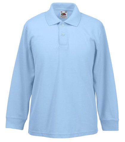 Fruit Of The Loom 63201 Kids Long Sleeve Childrens 65/35 Pique Polo Shirt - Sky Blue - Age 7-8 - Jungen Langarm-polo-shirt