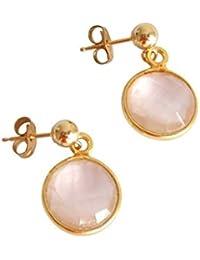 Gemshine - Damen - Ohrringe - 925 Silber - Vergoldet - Rosenquarz - Rosa - CANDY - 2 cm