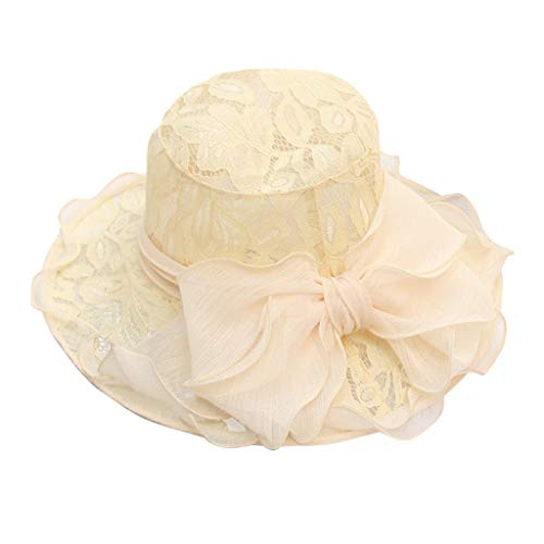 MMOOVV Damen Ms. Church Wide-Side Tea Party Hochzeit Hut Kostüm Kleid Party Cap (Gelb) (Ms Kleid Kostüme)