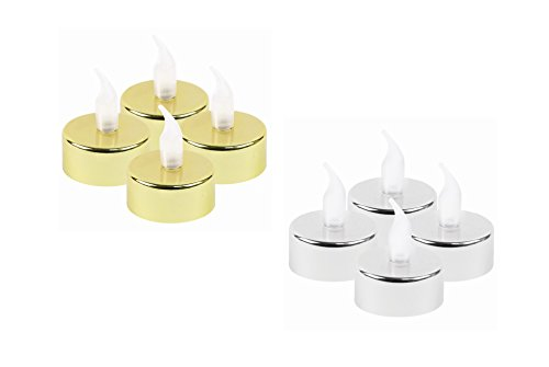 Invero® 8piezas de color plateado y dorado LED metálico velas ideal navidad decoración para todos los salones, cocinas, habitaciones, oficinas y más