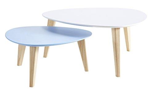 Links - Danke d1 - set 2 tavolini bianco + azzurro.