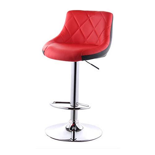 Xuanbao-F Barhocker 360 Grad Swivel Avery Ajustable Height Barhocker Barhocker aus Leder Bar Stühle Frühstück Esszimmerhocker (Farbe : Rot, Größe : 86x47x36cm) -