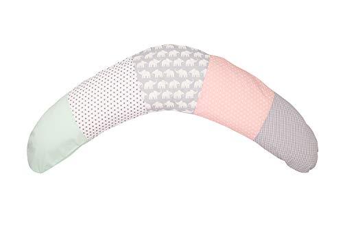 Cojín de lactancia de ULLENBOOM ® elefantes menta rosa (190x38cm; relleno: microperlas...