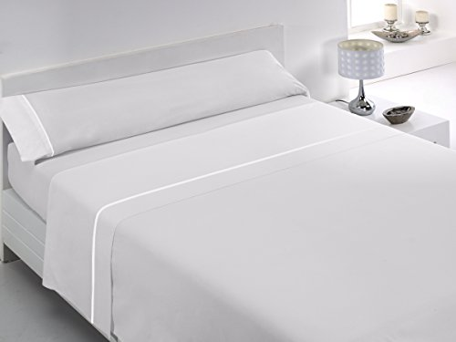 Glam Tábata - Juego de sábanas de algodón percal de 200 Hilos para Cama de 160 cm, Color Blanco
