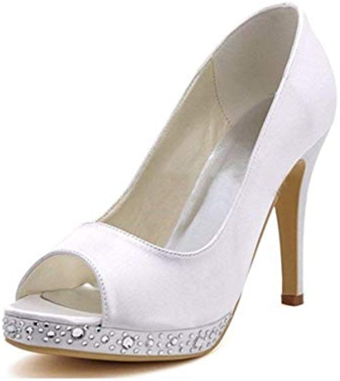 Fuxitoggo Ladies Peep Toe Cristalli Tacco a Spillo Tacco Alto Avorio Satinato Nuziale Sandali da Sposa UK 6 (Coloreee... | Per tua scelta  | Uomo/Donna Scarpa