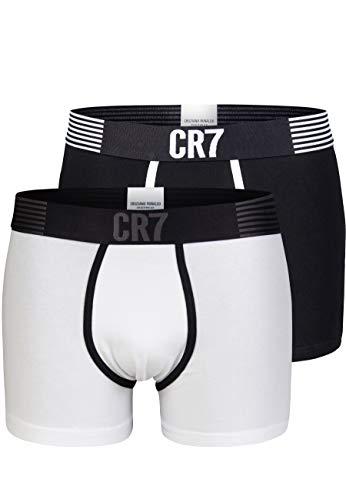 CR7 Cristiano Ronaldo - Fashion - Modische Trunks/Retroshorts für Herren - 2-Pack - Schwarz/Weiss - Grösse Small (CR7-JBS-8302-49-532-S)