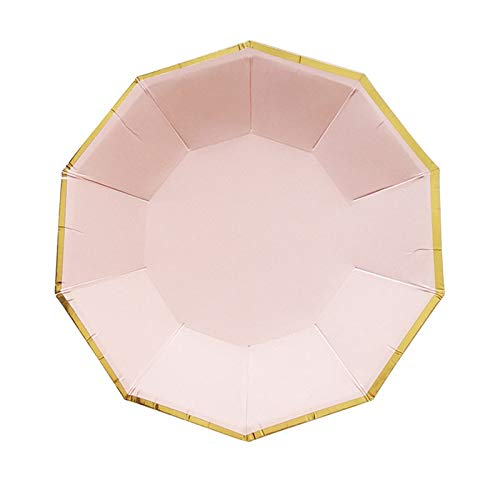 able Tableware Sweet Pink One-Off Paper Plates Cup Straws Birthday Party Wedding Carnival Tableware Supplies,8Pcs Plates ()