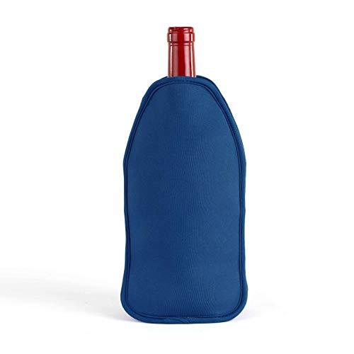 Weinkühler Neopren mit Reißverschluss Tragegriff Sektkühler Blau (Neoprenhülle für Trinkflasche, Flaschenkühler, Getränkekühler)