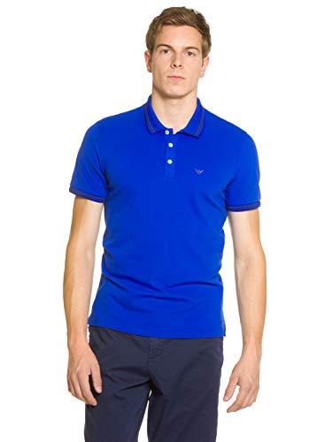 Emporio Armani Herren Pique-Baumwolle Twin Tipped Polo-Shirt China Blue S