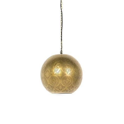 QAZQA Retro Orientalische Pendelleuchte/Pendellampe/Hängelampe/Lampe/Leuchte Gold/Messing - Zayn 2 / Innenbeleuchtung/Wohnzimmerlampe/Schlafzimmer/Küche Metall Rund LED geeignet E27 Ma