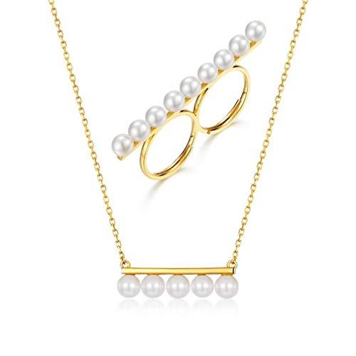 WANZIJING Satz von 2 Sterling Silber Perlenschmuck, Goldbarren Halskette personalisierte Ring einstellbar Juli Geburtstagsgeschenk Hochzeit Brautjungfer - Schmutz Billige Kostüm Schmuck