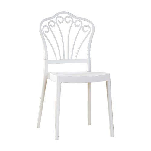 LXQGR Weiße Plastikgartenstühle, kreativer Rückenlehnenstuhl des einfachen modernen nordischen speisenden Stuhlhauptessstuhlhotelstuhlmodeplastikstuhl-Bürostuhl (Color : White)