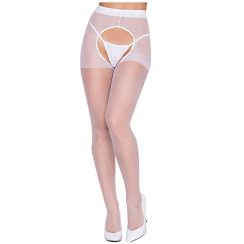 Dorical Damen Sexy Strümpfe, Frauen Halterlose Strumpfhosen, Dessous Strapse Strümpfe Slips Strings Unterwäsche Panties Reizwäsche Tangas Promo (One Size, Z003-Weiß)