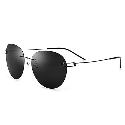 Easy Go Shopping Herren Sonnenbrille Persönlichkeit Runde Form Polarisierte TR90 TAC Objektiv UV Schutz für Fahren Baseball Laufen Radfahren Angeln Golf (Farbe : Schwarz)