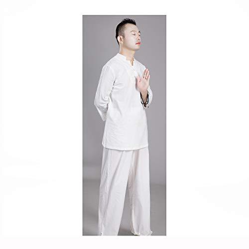 Tai Chi Anzug Baumwolle Und Leinen Meditation Yoga Kleidung Männer Und Frauen üben Kleidung Anzüge Anzüge,MaleWhite-XXL