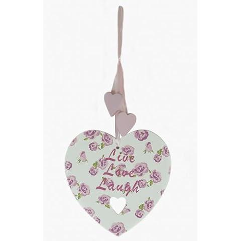 Bouquet di rose Live Love Laugh a forma di cuore Plaque