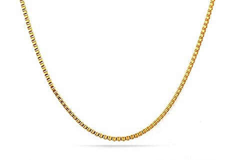 Vnox 18K Gold Plated Stainless Steel Box Chain Necklace for Men Pendant Accessory Chain 2.0mm,18 Inches